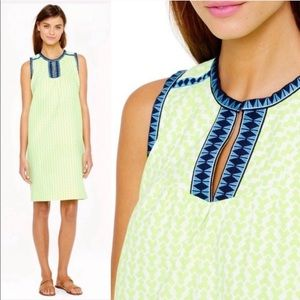 NEW J. Crew Neon Yellow Arrow Print Shift Dress
